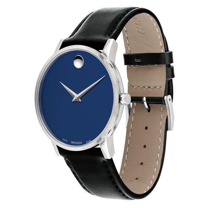 Movado Museum Quartz Black Leather Watch 0607270