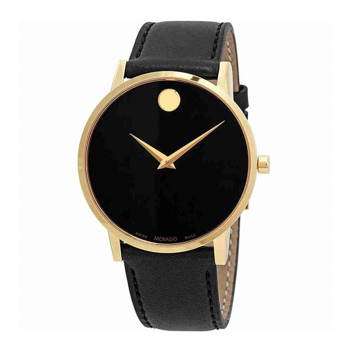 Movado Museum Quartz Black Leather Watch 0607271