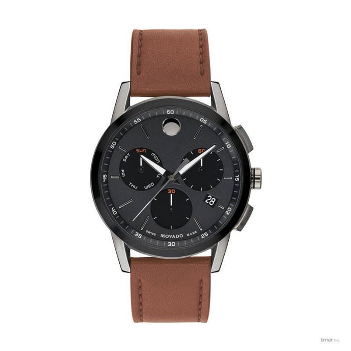 Movado Museum Sport  Quartz Chronograph Brown Leather Watch 0607290
