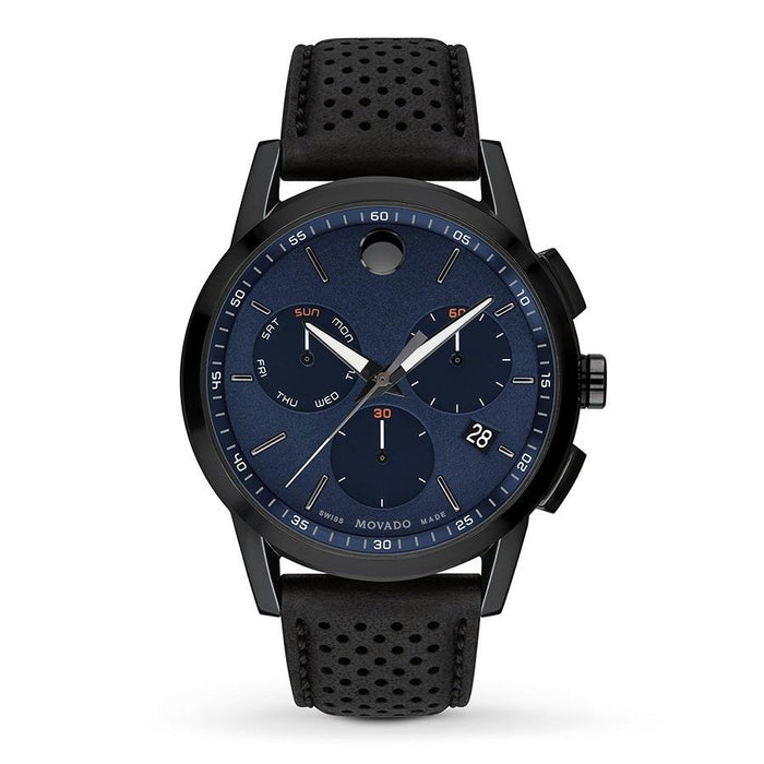 Movado Museum Sport Quartz Chronograph Black Leather Watch 0607360