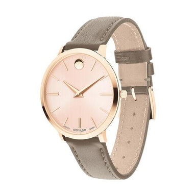 Movado Ultra Slim Quartz Pink Leather Watch 0607374