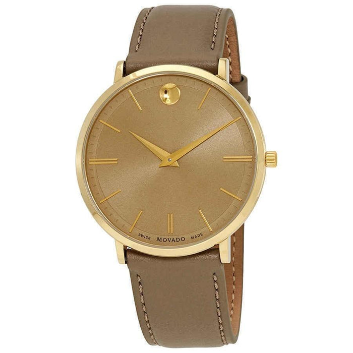 Movado Ultra Slim Quartz Taupe Leather Watch 0607375