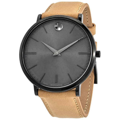 Movado Ultra Slim Quartz Taupe Leather Watch 0607378