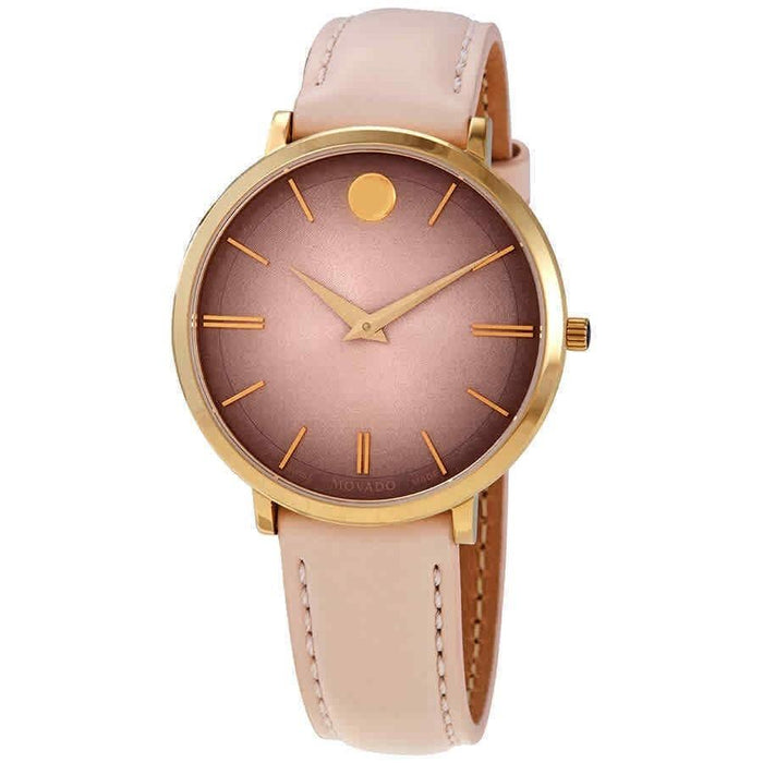 Movado Ultra Slim Quartz Pink Leather Watch 0607401