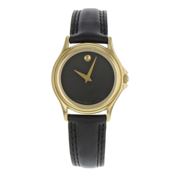 Movado Museum Quartz Black Leather Watch 0690299