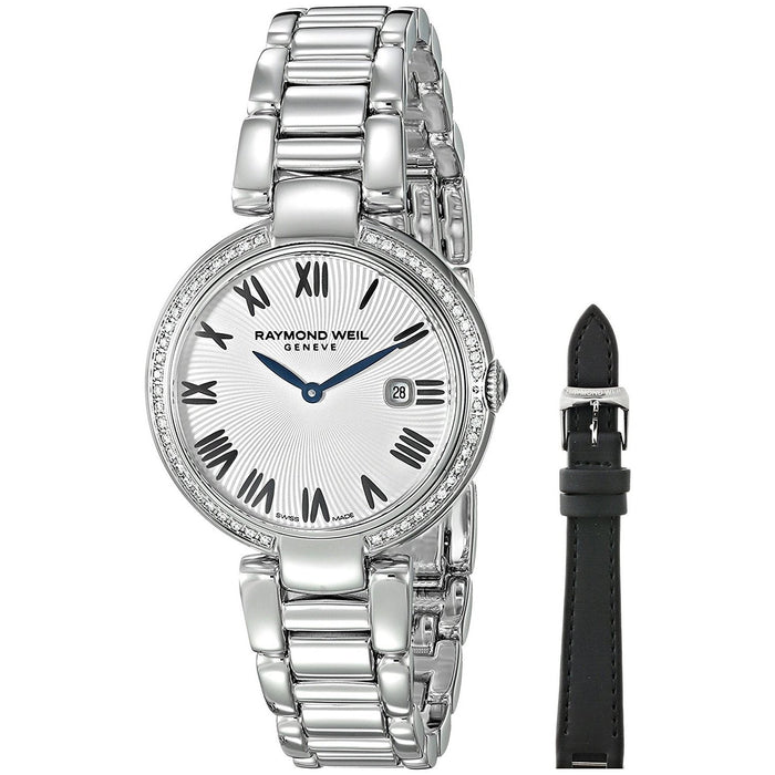 Raymond Weil Shine Quartz Diamond Interchangeable Black Satin Strap Stainless Steel Watch 1600-STS-00659