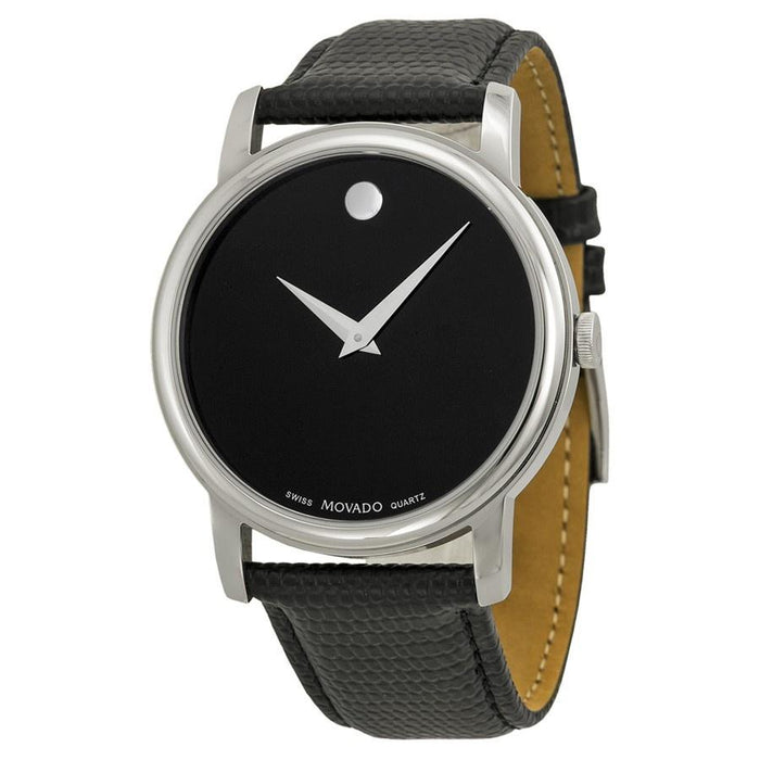 Movado Museum Quartz Black Leather Watch 2100002