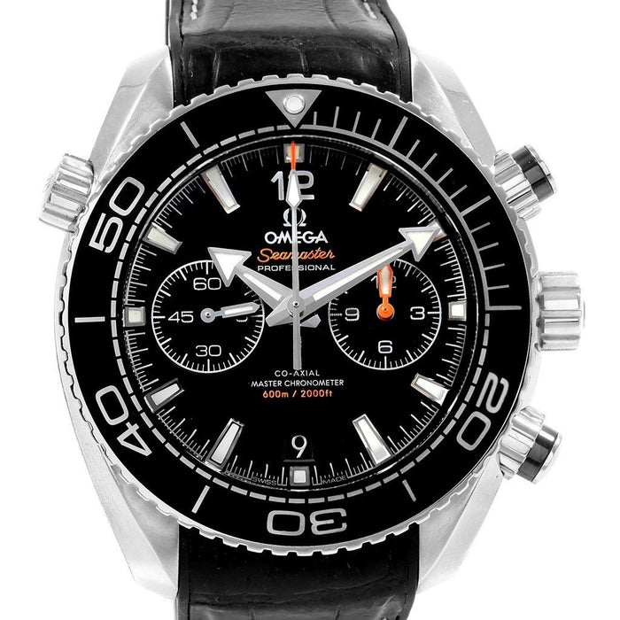 Omega Seamaster Planet Ocean Automatic Chronograph Black Leather Watch 215.33.46.51.01.001