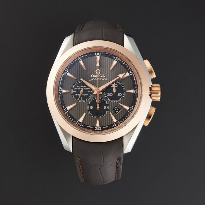 Omega Seamaster Aqua Terra Automatic Chronograph Brown Leather Watch 231.23.44.50.06.001