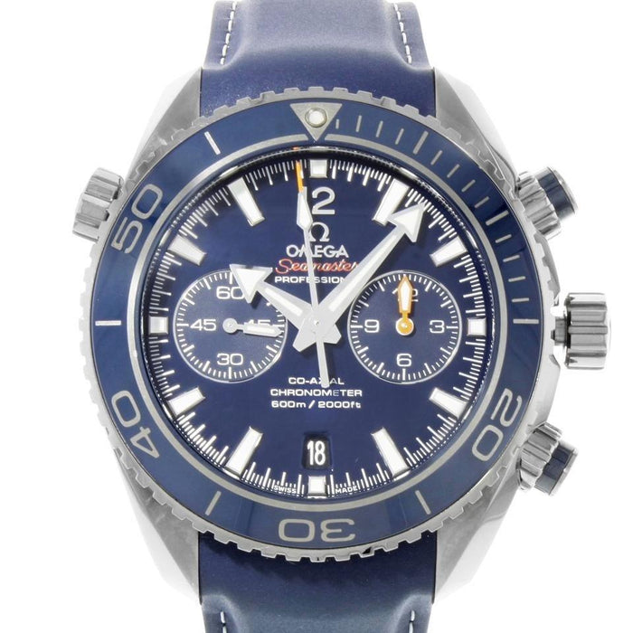 Omega Seamaster Planet Ocean Automatic Chronograph Blue Leather Watch 232.92.46.51.03.001