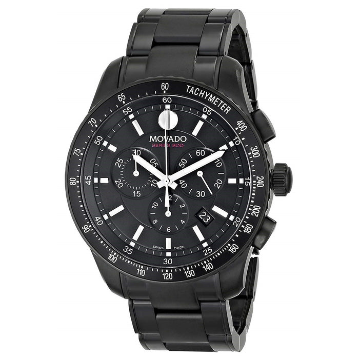 Movado Series 800 Quartz Chronograph Black Stainless Steel Watch 2600107