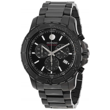 Movado Series 800 Quartz Chronograph Black Stainless Steel Watch 2600119