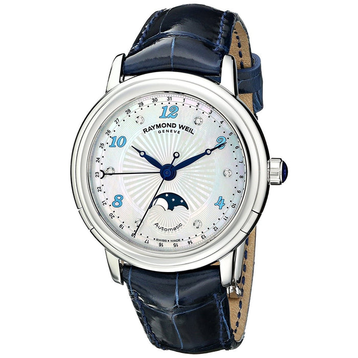 Raymond Weil Maestro Automatic Automatic Moonphase Diamond Blue Leather Watch 2739-L3-05985