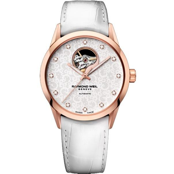 Raymond Weil Freelancer Automatic Diamond Automatic Open Balance Wheel White Leather Watch 2750-PC5-30081