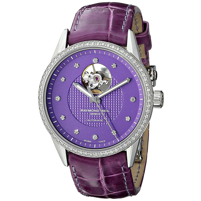 Raymond Weil Freelancer Automatic Diamond Automatic Purple Leather Watch 2750-SLS-63081