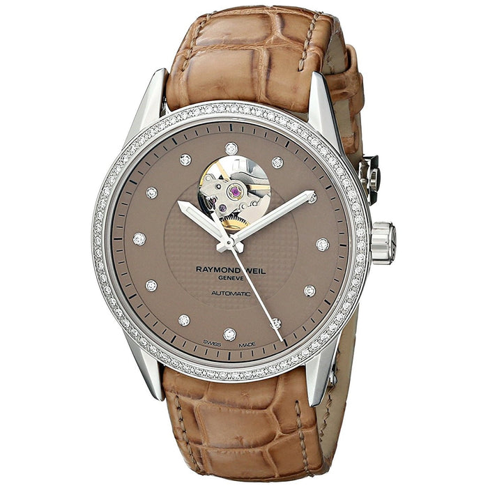 Raymond Weil Freelancer Automatic Diamond Automatic Brown Leather Watch 2750-SLS-66081