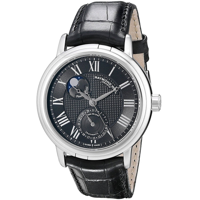Raymond Weil Maestro Automatic Moonphase Automatic Black Leather Watch 2839-STC-00209