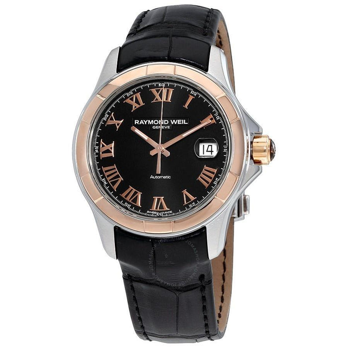 Raymond Weil Parsifal Automatic 18kt Rose Gold Automatic Black Leather Watch 2970-SC5-00208