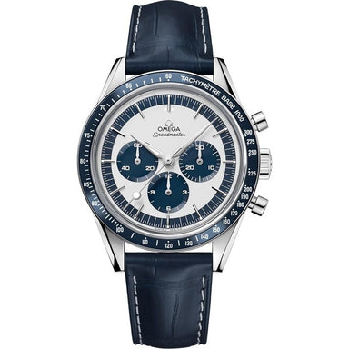 Omega Speedmaster Mechanical Chronograph Hand Wind Blue Leather Watch 311.33.40.30.02.001