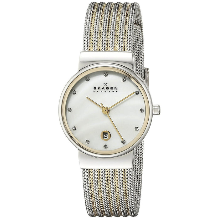 Skagen Ancher Quartz Crystal Two-Tone Stainless Steel Watch 355SSGS