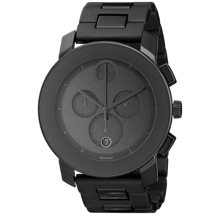 Movado Bold Quartz Chronograph Black Stainless Steel Watch 3600048