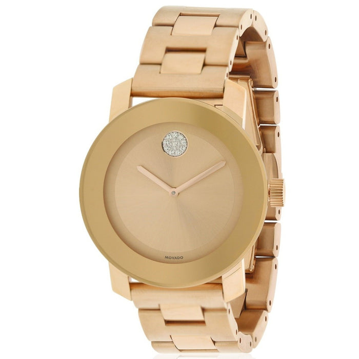 Movado Bold Quartz Crystal Rose-Tone Stainless Steel Watch 3600086