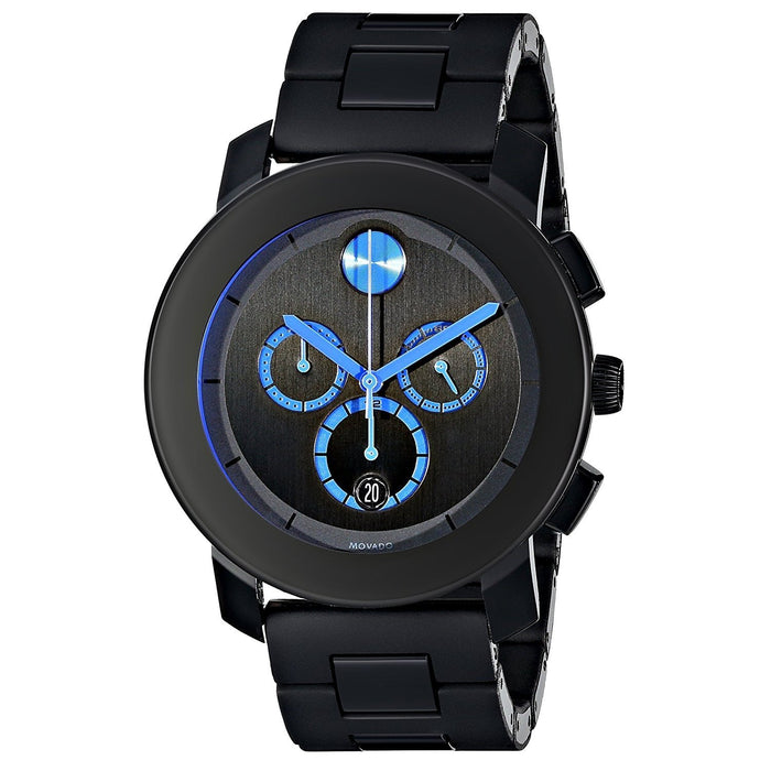 Movado Bold Quartz Chronograph Black Stainless Steel Watch 3600101