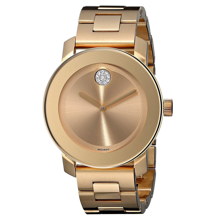 Movado Bold Quartz Crystal Rose-Tone Stainless Steel Watch 3600104
