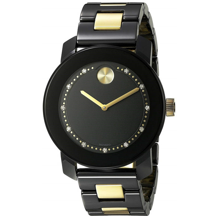 Movado Bold Quartz Two-Tone Ceramic and Stainless Steel Watch 3600233