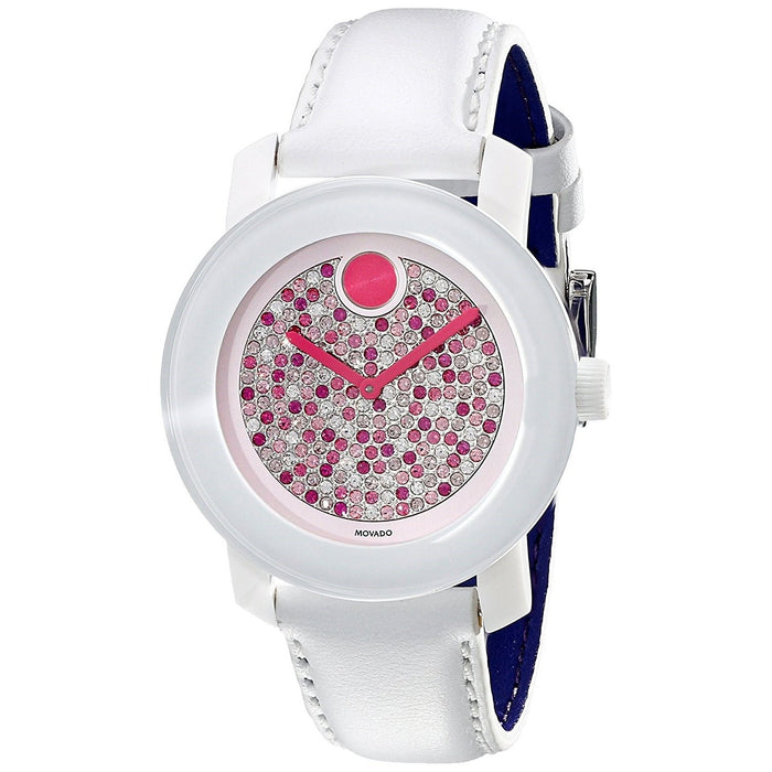 Movado Bold Quartz Crystal White Leather Watch 3600262