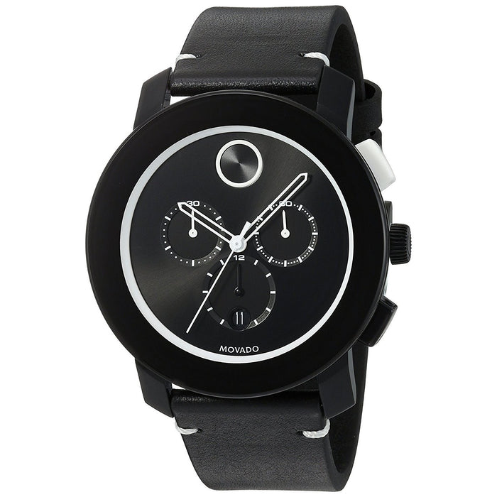Movado Bold Quartz Chronograph Black Leather Watch 3600386