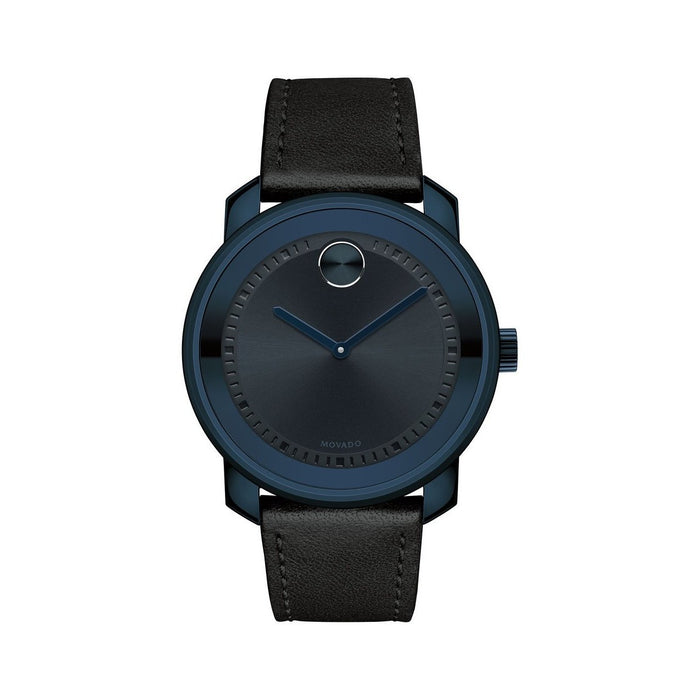Movado Bold Quartz Black Leather Watch 3600408
