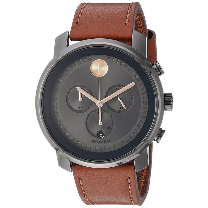 Movado Bold Quartz Chronograph Brown Leather Watch 3600421
