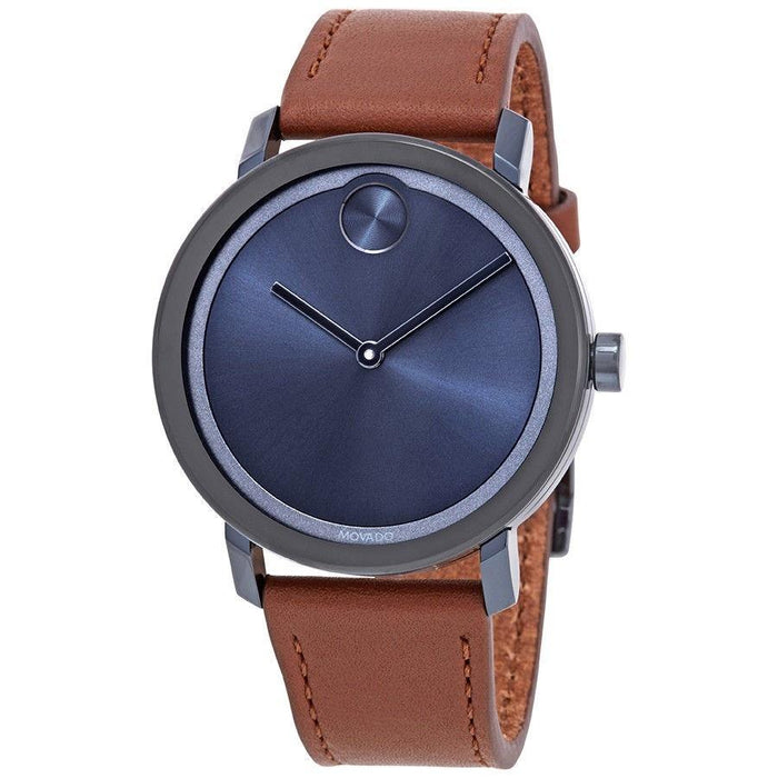 Movado Bold  Quartz Brown Leather Watch 3600520
