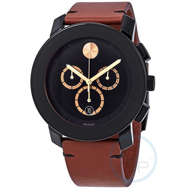 Movado TR90 Quartz Chronograph Brown Leather Watch 3600540