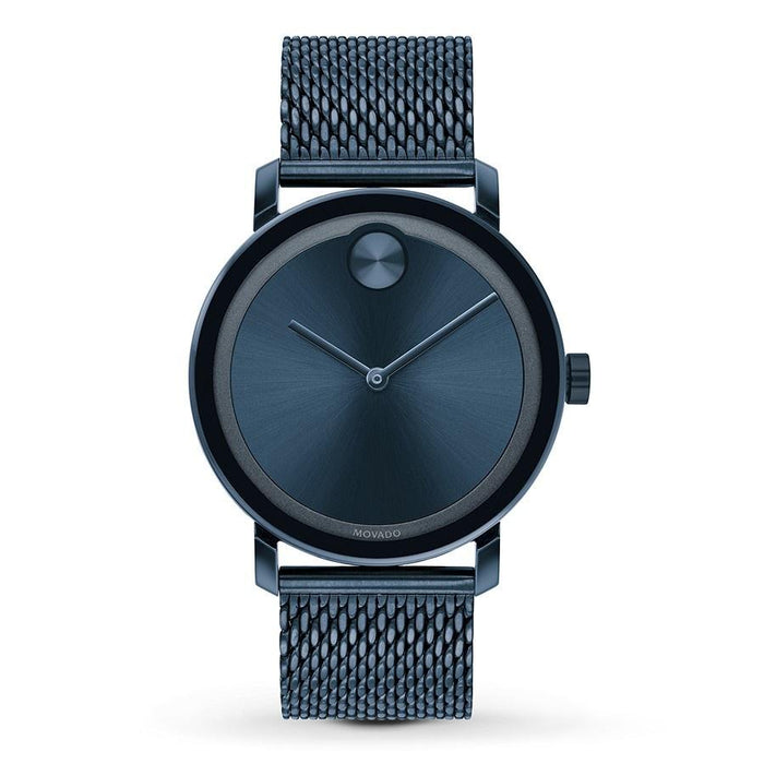 Movado Bold Quartz Blue Stainless Steel Watch 3600610