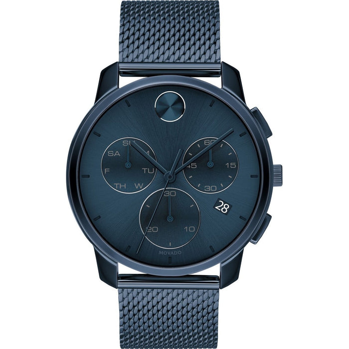 Movado Bold Quartz Chronograph Blue Stainless Steel Watch 3600633