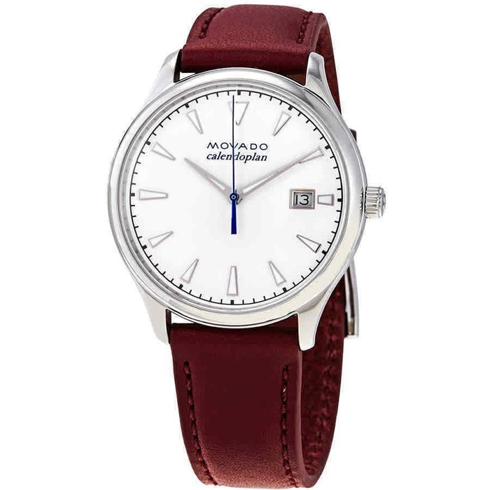 Movado Heritage Calendoplan Quartz Red Leather Watch 3650032
