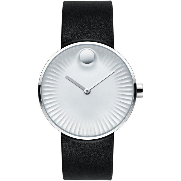 Movado Edge Quartz Black Leather Watch 3680001