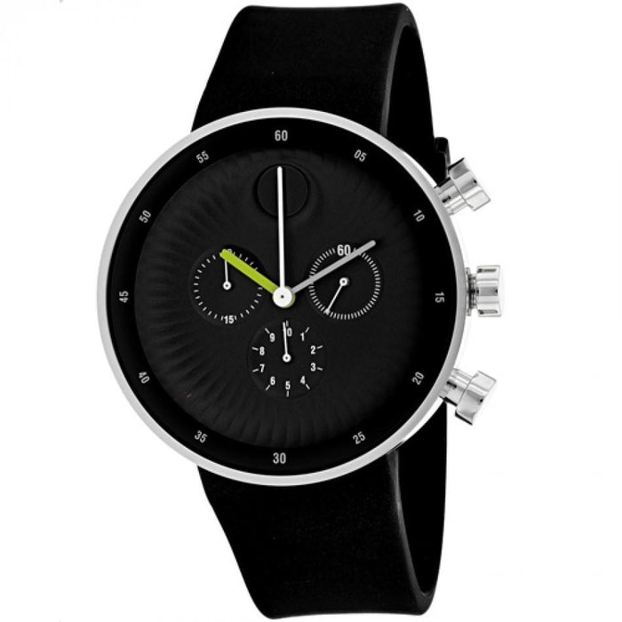 Movado Edge Quartz Dot Black Silicone Watch 3680018