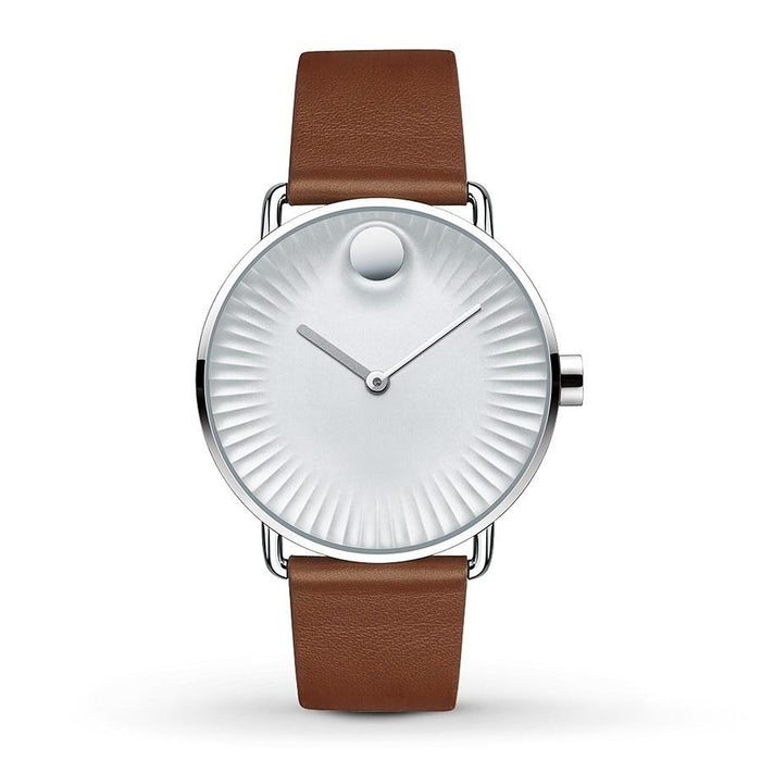 Movado Edge Quartz Dot Brown Leather Watch 3680038