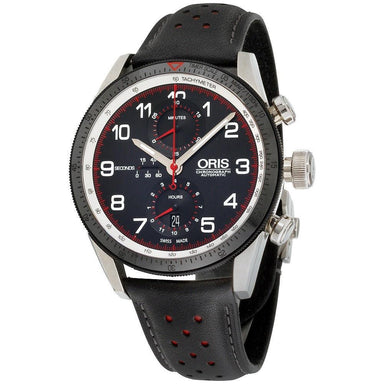 Oris Calobra Automatic Chronograph Black Leather Watch 77476614484LSBLK