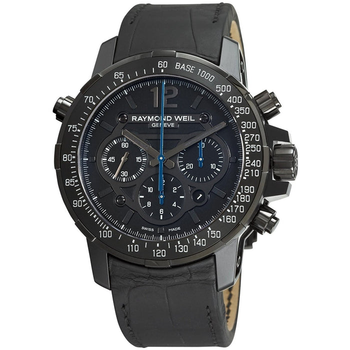 Raymond Weil Nabucco Rivoluzione Quartz Chronograph Automatic Black Leather Watch 7810-BSF-05207
