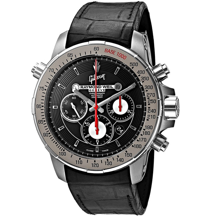 Raymond Weil Nabucco Gibs1 Automatic Chronograph Automatic Black Leather Watch 7850-TIR-GIBS1