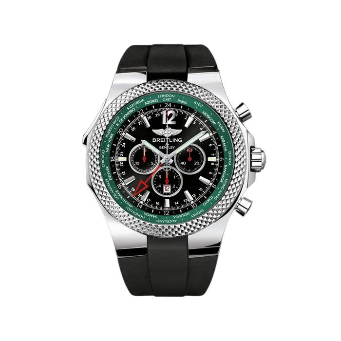 Breitling Bently GMT Automatic Chronograph Black Rubber Watch A47362S4-B919-214S