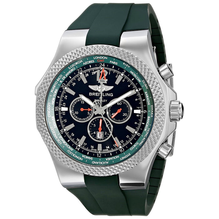 Breitling Bentley GMT Automatic Automatic Chronograph Green Rubber Watch A47362S4-B919