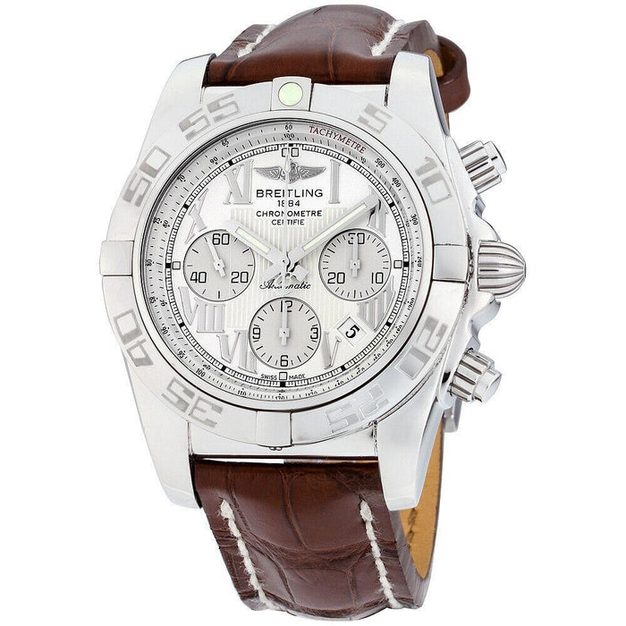 Breitling Chronomat 44 Automatic Chronograph Black Leather Watch AB011012-A690-739P