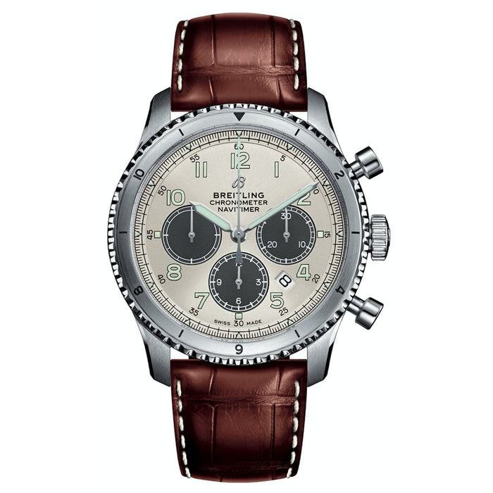 Breitling Navitimer 8 Automatic Chronograph Brown Leather Watch AB01171A-G839-1009P