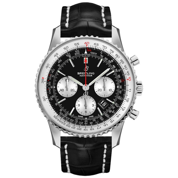 Breitling Navitimer 1 Automatic Chronograph Black Leather Watch AB012121-BG75-743P