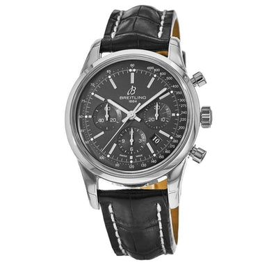 Breitling Transocean  Automatic Chronograph Black Leather Watch AB015212-BA99-744P